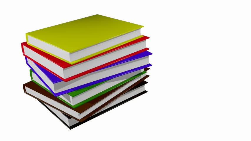 852x480 Animation Rotation Of Stack Colorful Books. Animation Of Seamless
