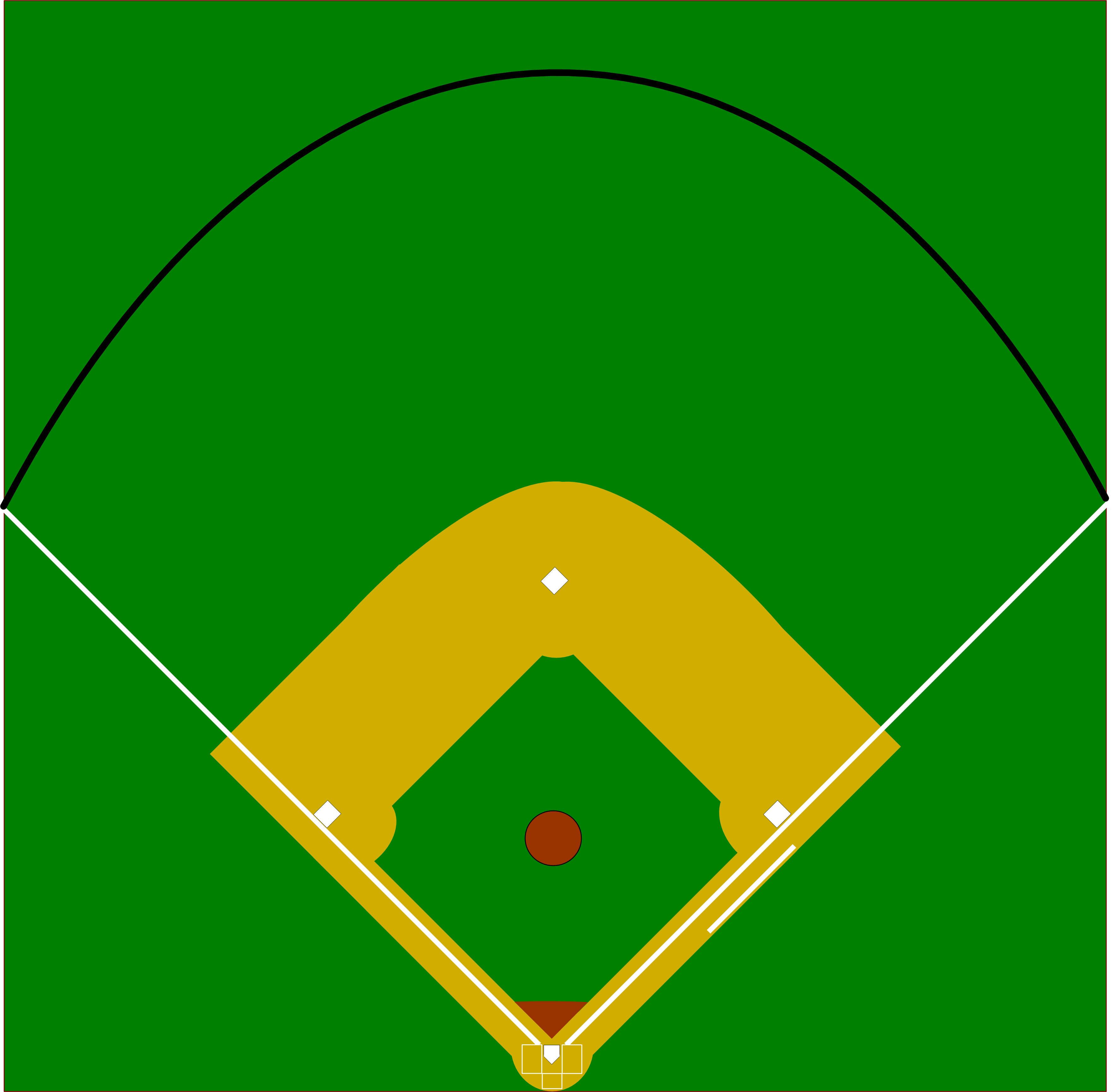 3526x3459 Baseball Diamond Vector Clip Art Library