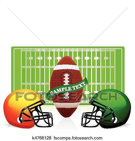 450x470 Clip Art Of American Football Field, Ball And Helmet Vector