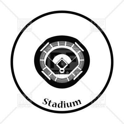 400x400 Silhouette Of Baseball Stadium Icon Royalty Free Vector Clip Art