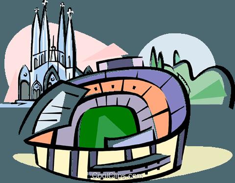 480x373 Spain Nou Camp Stadium Barcelona Royalty Free Vector Clip Art