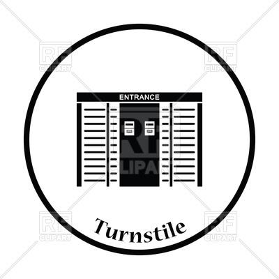 400x400 Thin Circle Design Of Stadium Entrance Turnstile Icon Royalty Free