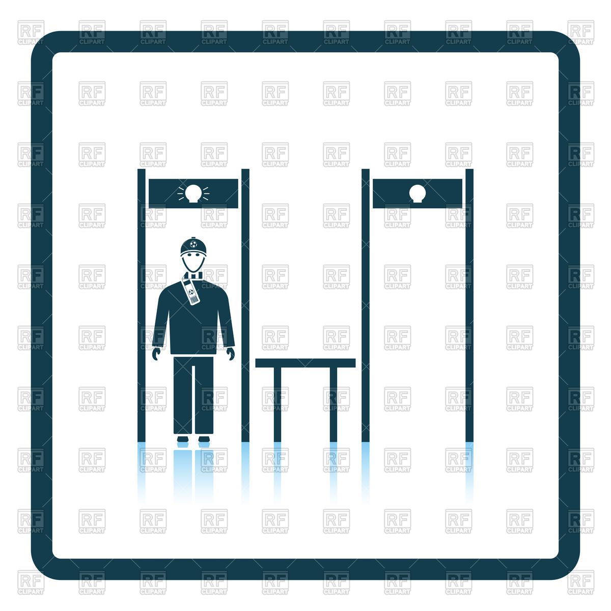 1200x1200 Stadium Metal Detector Frame With Inspecting Fan Icon Royalty Free