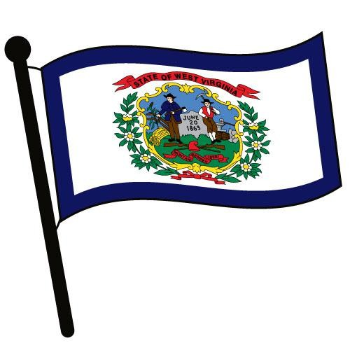 500x500 West Virginia Waving Flag Clip Art