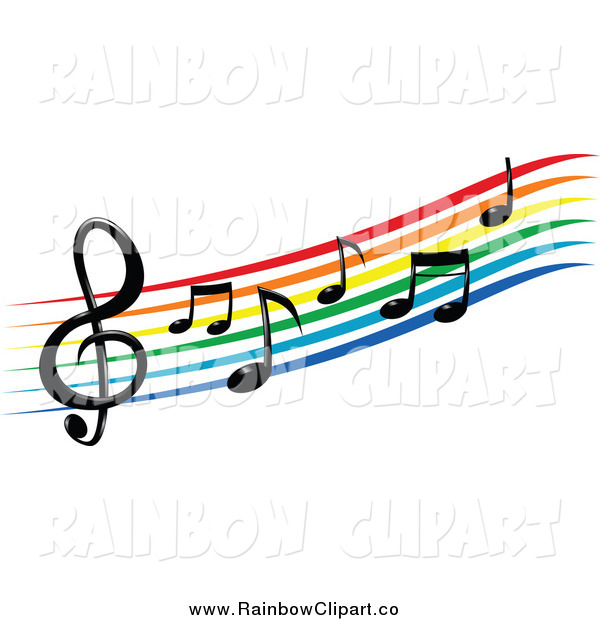 600x620 Vector Clip Art Of A Rainbowm Clef Staff And Music Notes By Vector
