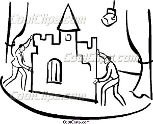 300x243 Stage Hands Setting Up Props Vector Clip Art