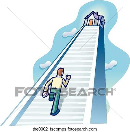 450x456 Clip Art Of Man Walking Up A Long Flight Of Stairs To A House