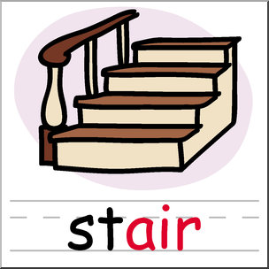 304x304 Clip Art Basic Words Air Phonics Stair Color I