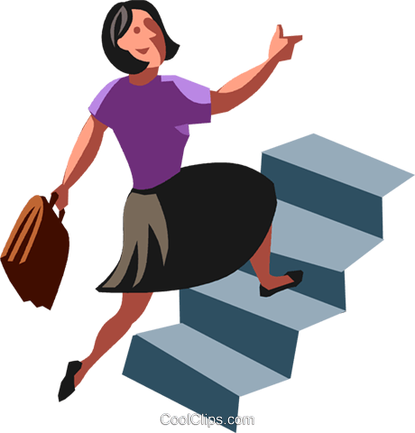 460x480 Businesswoman Running Up Stairs Royalty Free Vector Clip Art