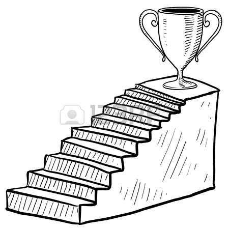 450x450 Doodle Style Sketch Of A Staircase To Success Including Dais