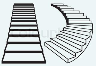 320x220 Grey Staircase In Blue Sky,vector Illustration Stock Vector
