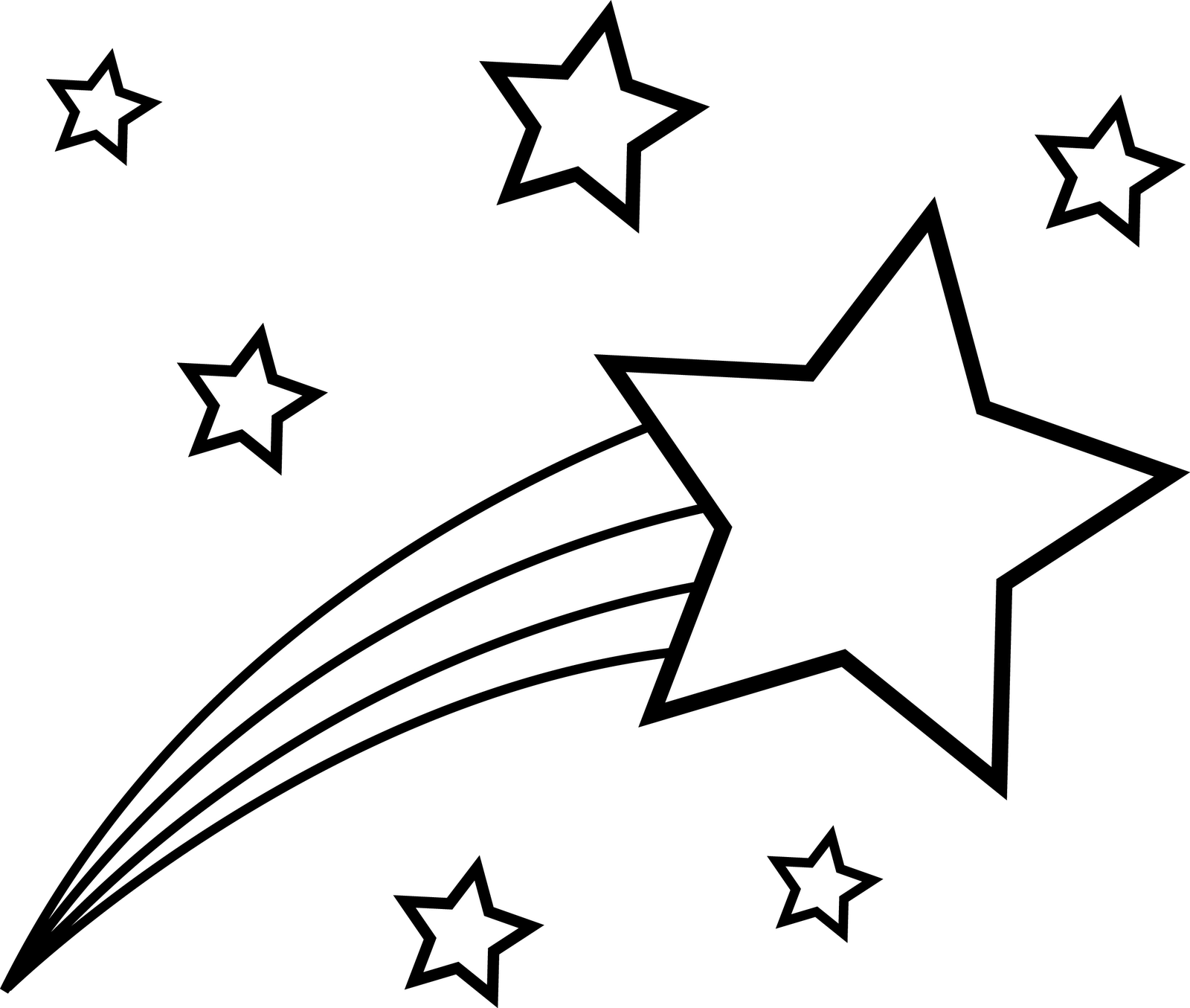 1600x1355 Shooting star clip art black and white free –