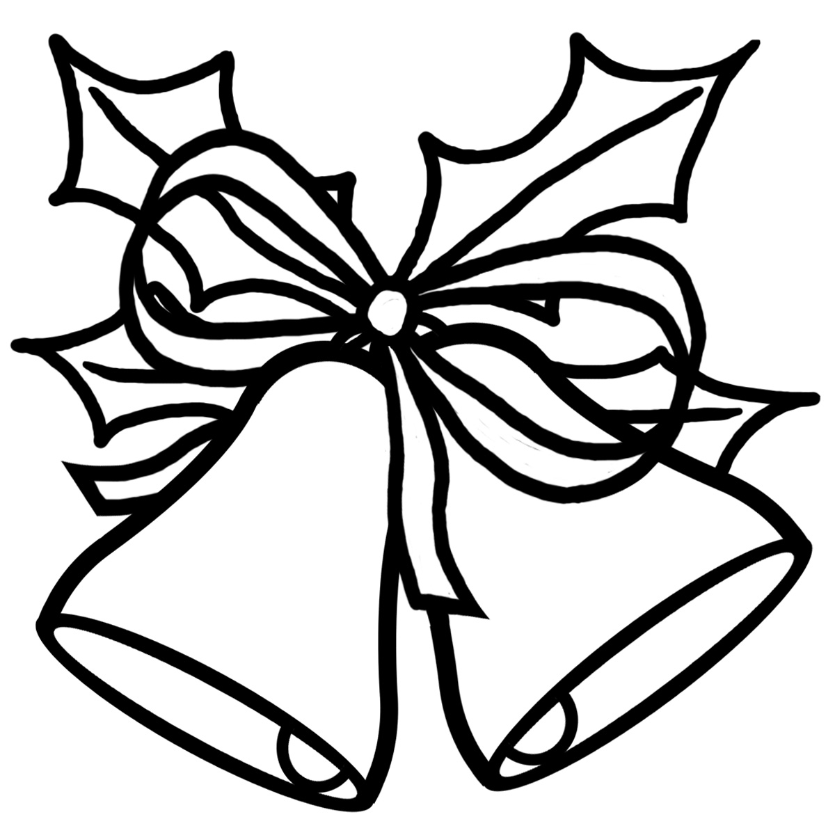 1200x1200 Christmas Bells Black And White Clipart