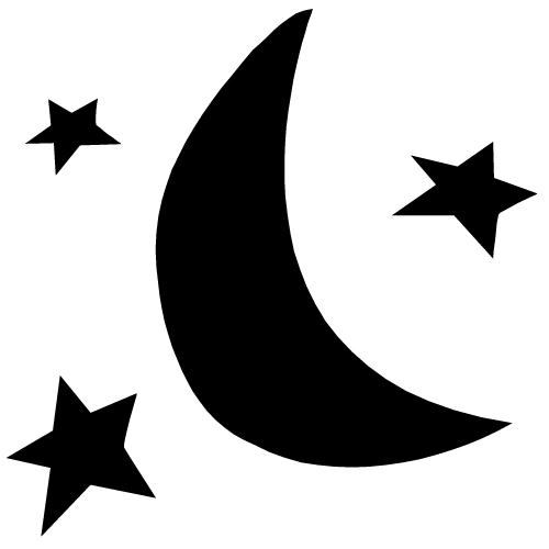500x500 Star Black And White Half Moon Black And White Clipart