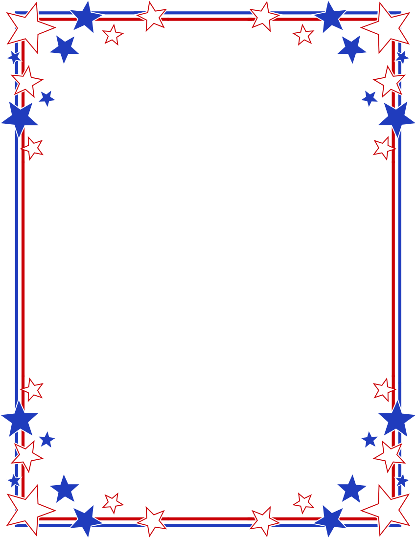 850x1100 Clipart Of Image Png Patriotic Frames Bordered With Stars