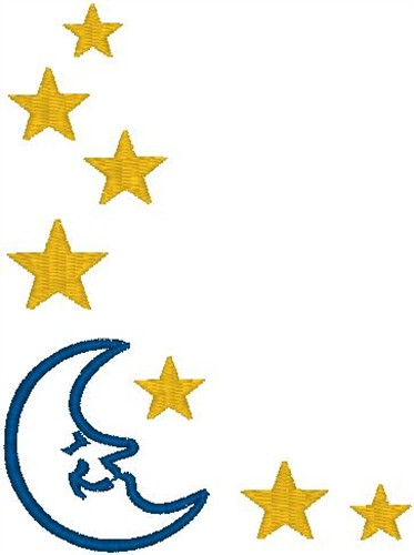 373x500 Moon And Stars Border Embroidery Designs, Machine Embroidery