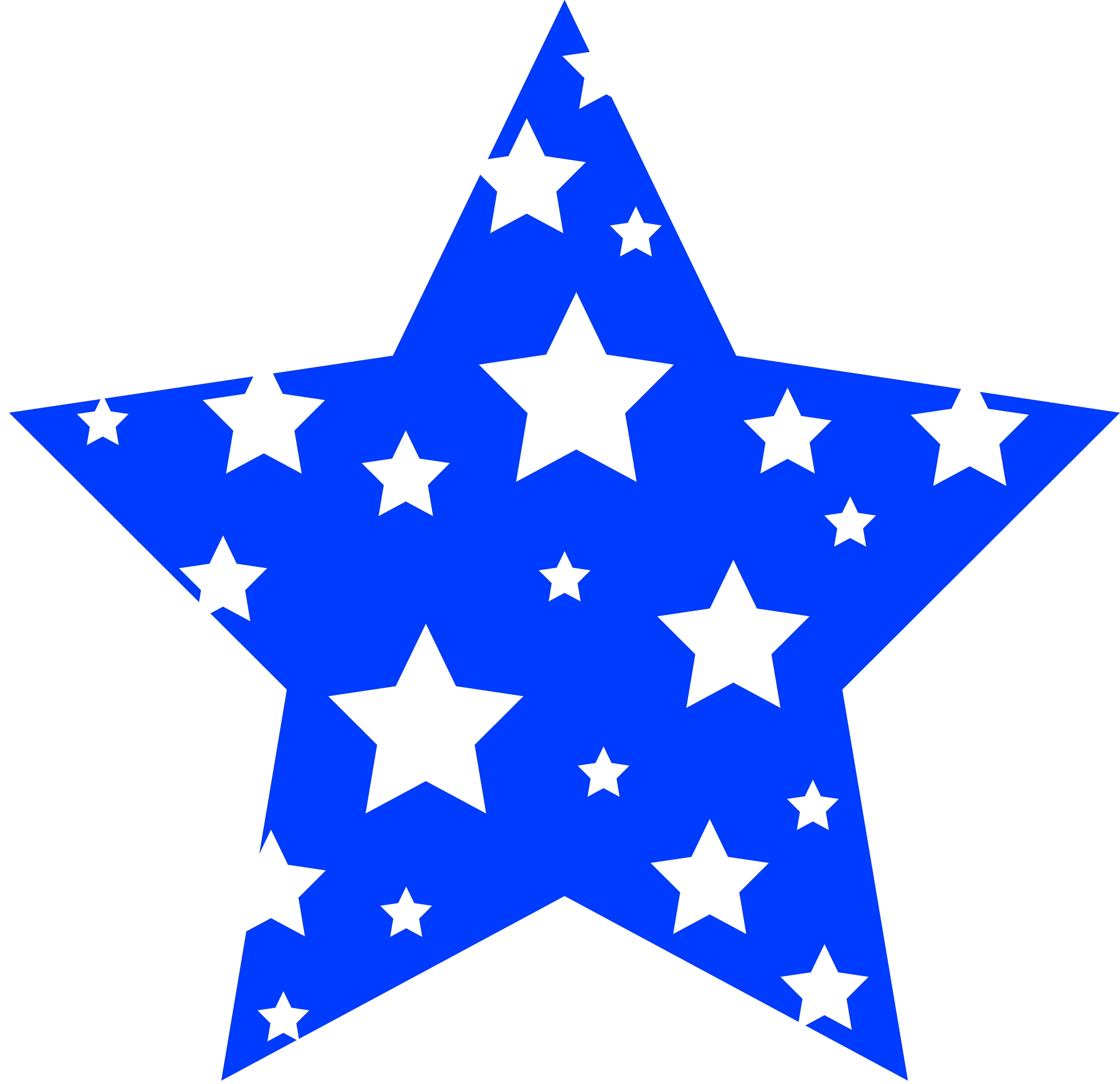 6598x6383 White And Blue Star Clipart