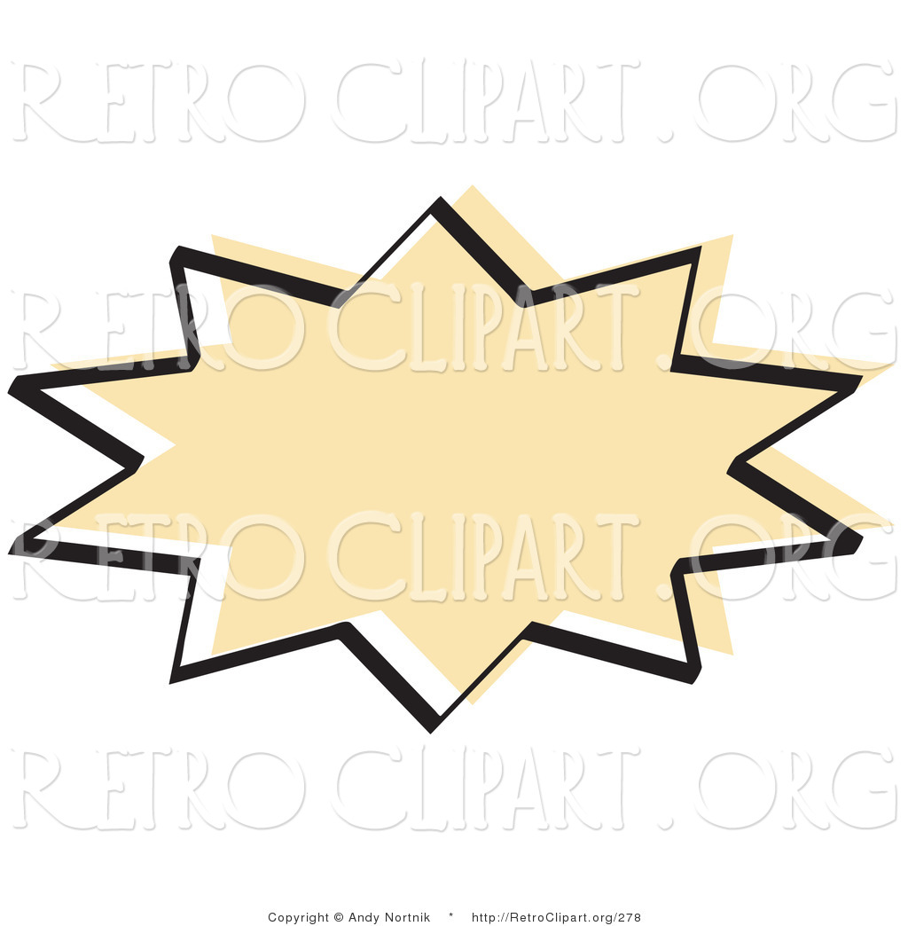 1024x1044 Retro Clipart Of A Tan Starburst With A Black Outline On White By