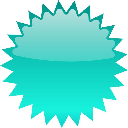 500x500 Star Burst Blank Cyan Clip Art Download