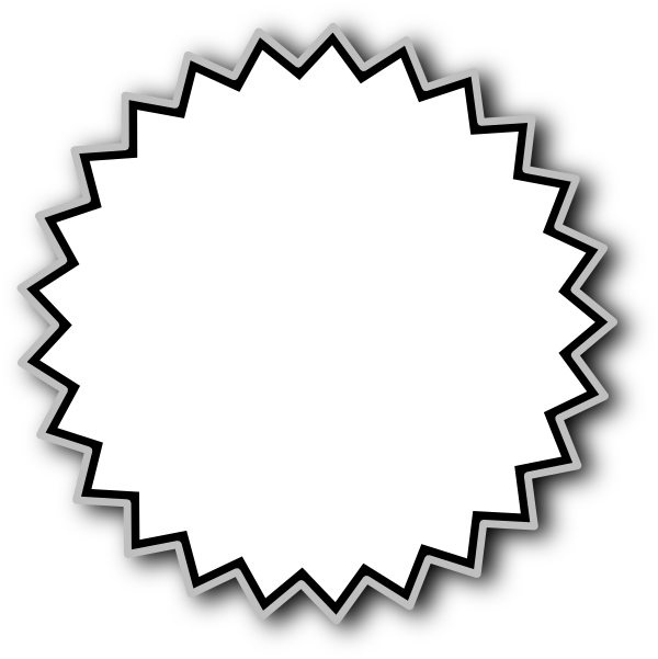 600x601 Black And White Starburst Clipart 4