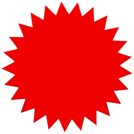 276x276 Star Burst Solid Red