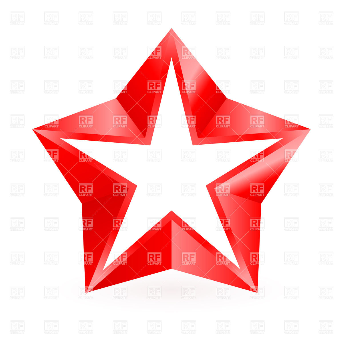 1200x1200 Shiny Red Star On White Background Royalty Free Vector Clip Art
