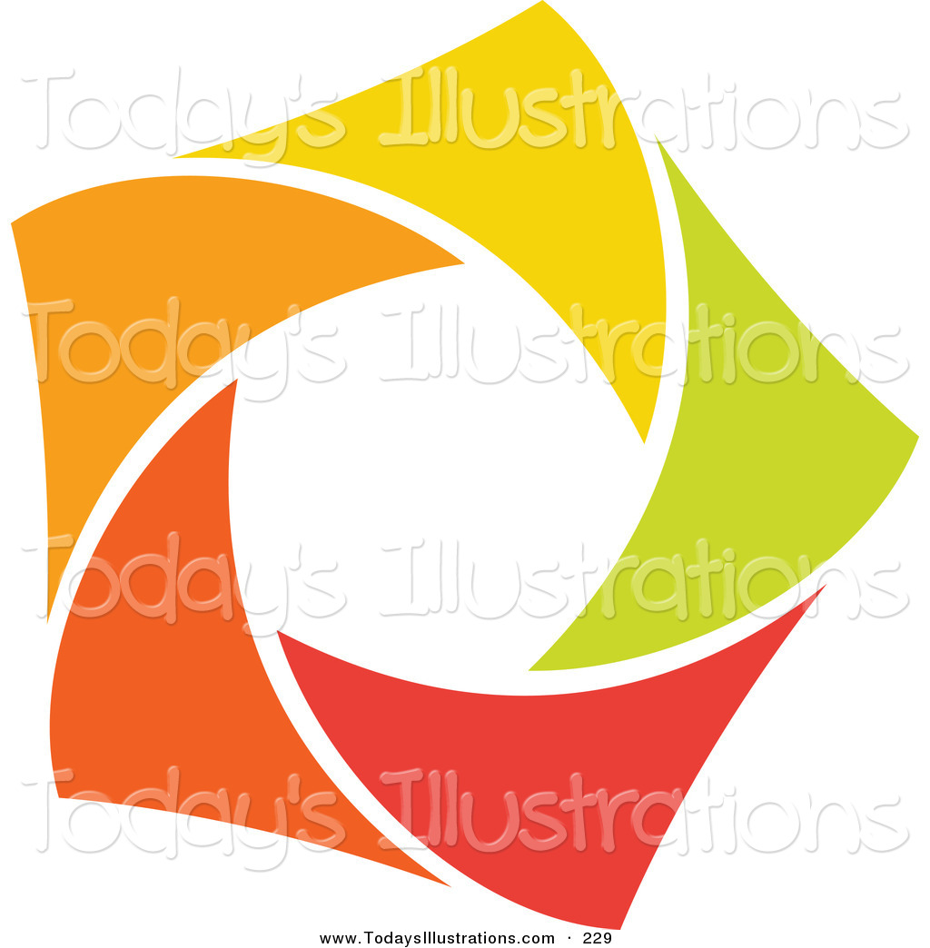 1024x1044 Clipart Of An Abstract Orange, Green, Red And Yellow Star Logo