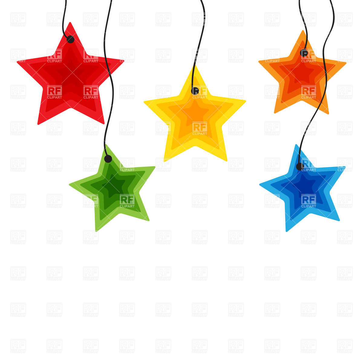 1200x1200 Five Colorful Hanging Stars Royalty Free Vector Clip Art Image