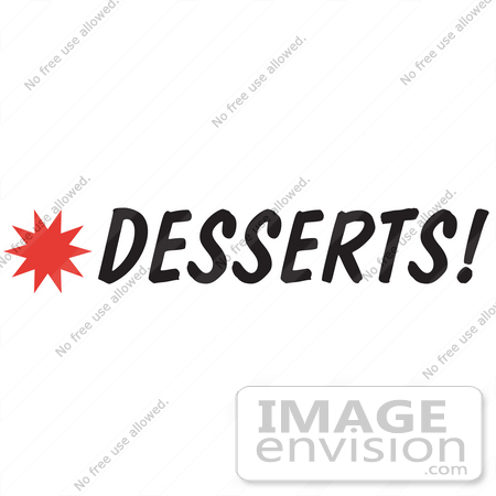 450x450 Royalty Free Cartoon Clip Art Of A Desserts Sign With A Star Burst