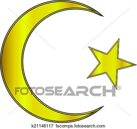 450x425 Clip Art Of Gold Star And Crescent Icon K21146117