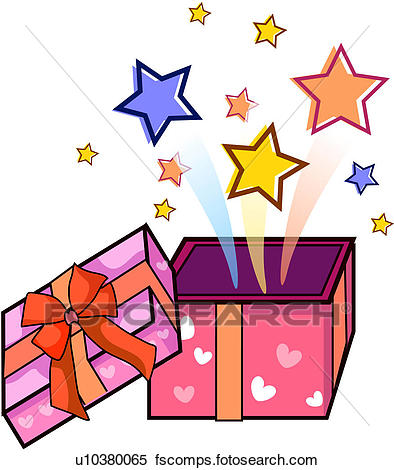 394x470 Clipart Of Surprise, Party, Open, Star, Present, Event U10380065