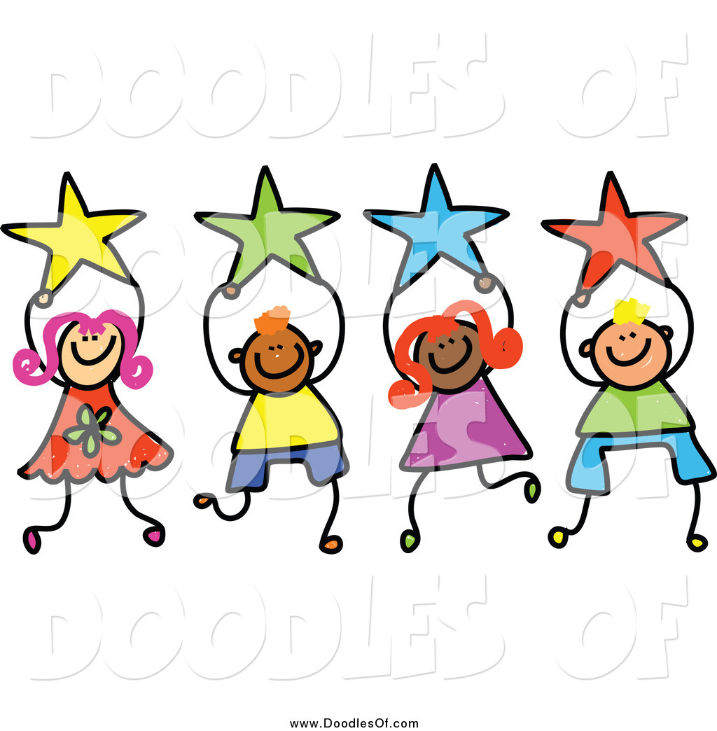 1024x1044 Vector Clipart Of Doodled Kids Holding Stars By Prawny