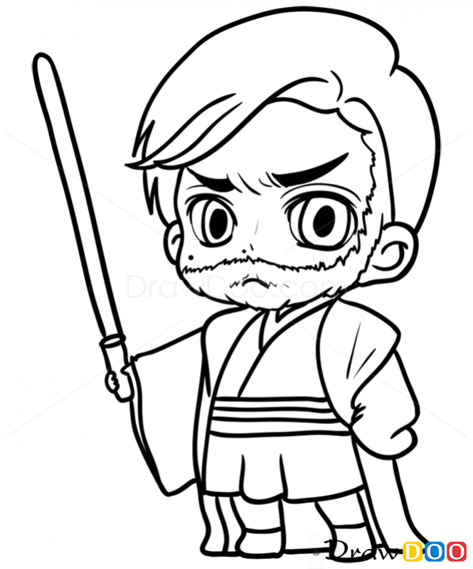 665x801 How To Draw Obi Wan, Chibi Star Wars Dibujos Chibi