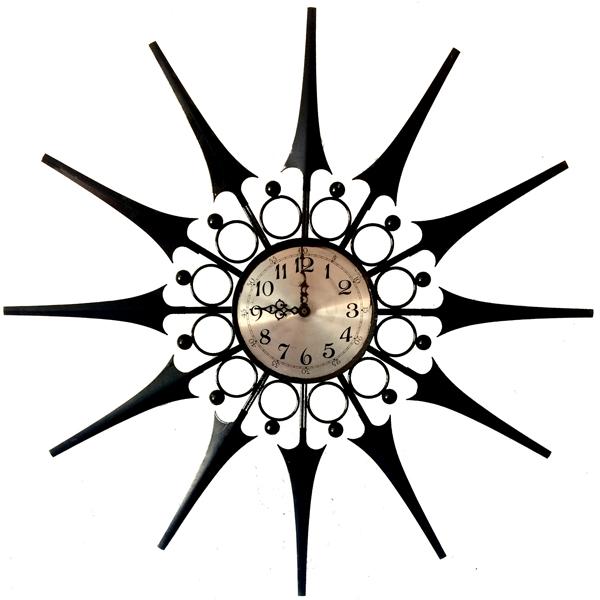 600x600 Mid Century Starburst Black Metal Wall Clock