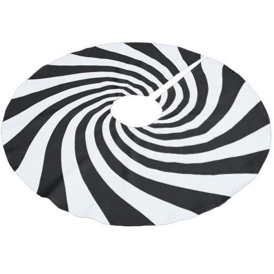 540x540 White And Black Starburst Twirl Brushed Polyester Tree Skirt