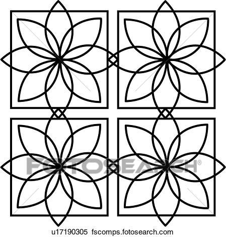 449x470 Clipart Of , Mandala, Floral, Geometric, Square, Starburst, Tile
