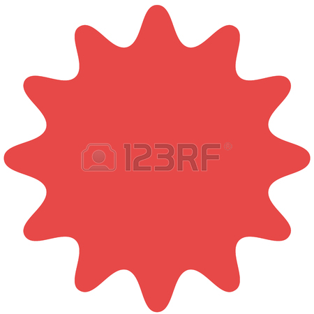 450x450 Vector Starburst, Sunburst Badge. Yellow Color. Simple Flat Style