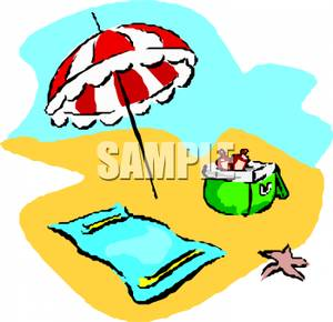300x290 Starfish Next To A Towel And Umbrella Set Up In The Sand Clip Art