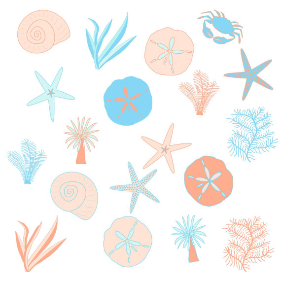 570x570 Blue And Peach Sea, Beach Clip Art Set, Digital Clipart