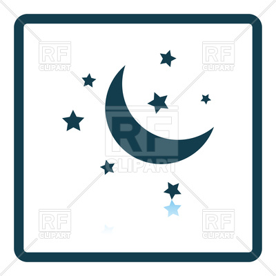400x400 Night Icon With Moon And Stars Royalty Free Vector Clip Art Image