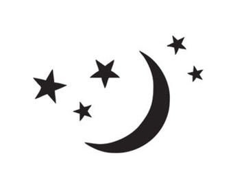 340x270 Moon And Stars Silhouette Stencil Svg Dxf File Instant Download
