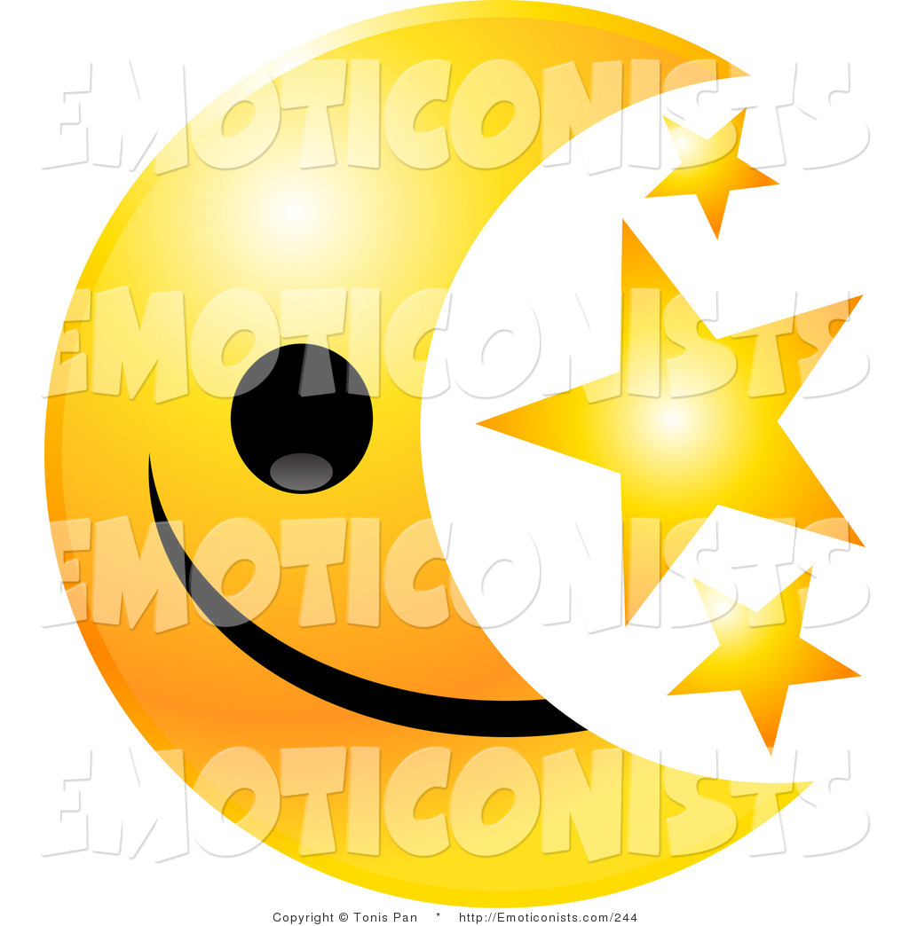 1024x1044 Clip Art Of A Yellow Happy Moon Emoticon Face With Three Golden