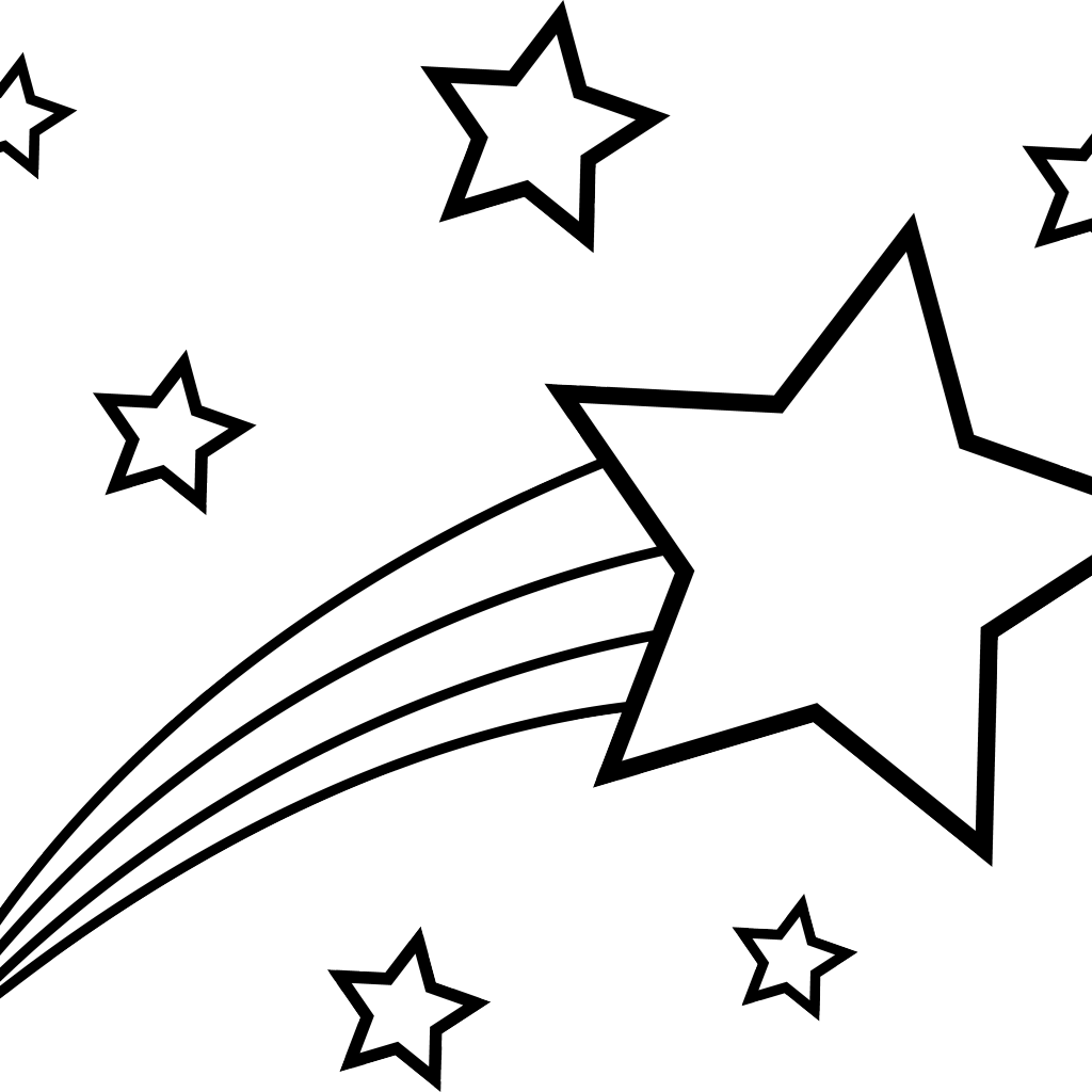 1024x1024 Drawn falling stars black and white