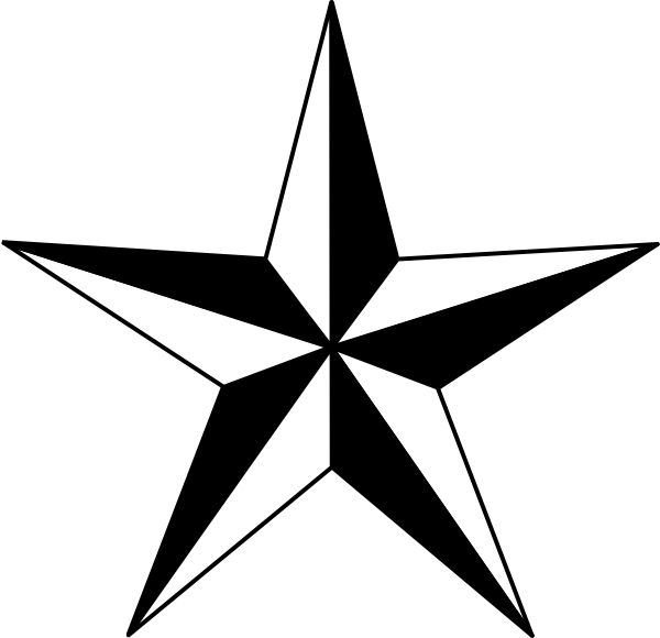 600x580 Star clipart black and white
