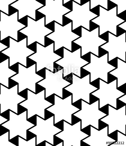433x500 Vector modern seamless geometry pattern stars, black and white