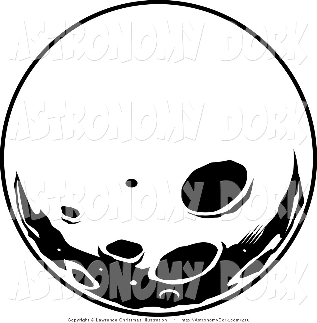 1024x1044 Clip Art of a View of the Black and White Retro Moon with Craters