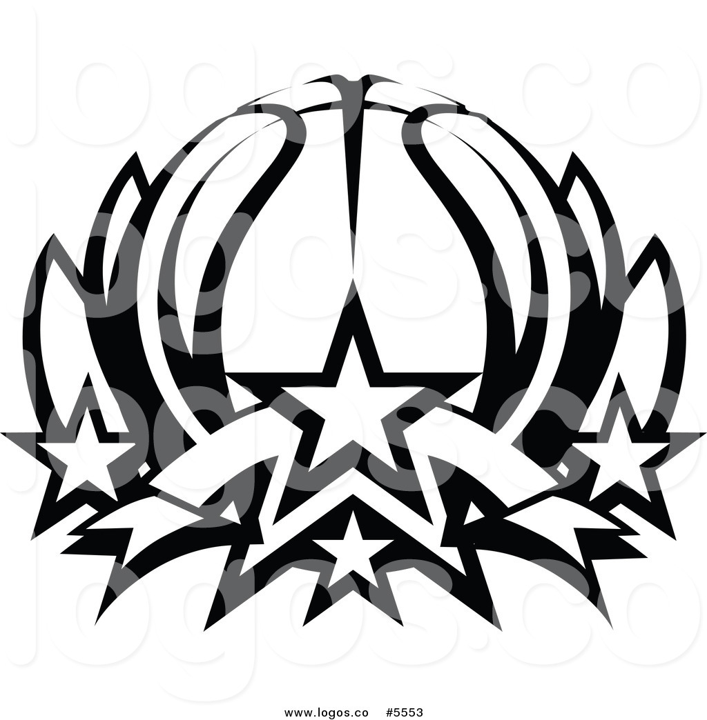 1024x1044 Royalty Free Vector of a Logo of a Black and White Basketball with