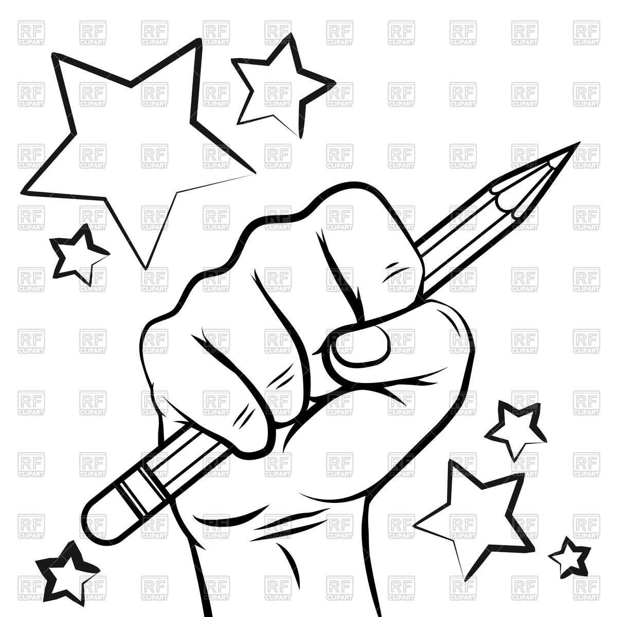 1200x1200 School sketch with hand pencil and stars Royalty Free Vector Clip
