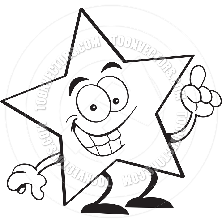 940x940 Cartoon Star With An Idea (Black And White Line Art) By Kenbenner