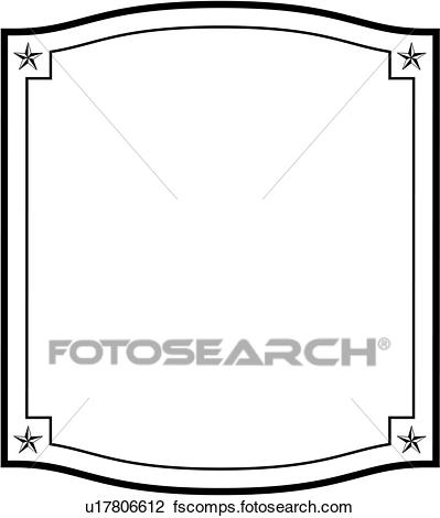 399x470 Clipart of , blank, border, fancy, frame, sign, square, stars